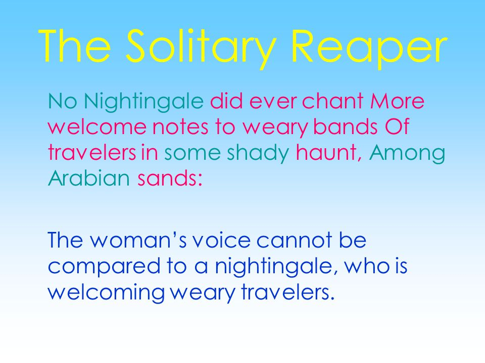 The Solitary Reaper No Nightingale did ever chant More welcome notes to weary bands Of travelers in some shady haunt, Among Arabian sands: The woman's voice cannot be compared to a nightingale, who is welcoming weary travelers.