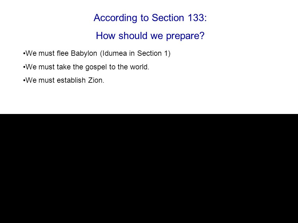 According to Section 133: How should we prepare.