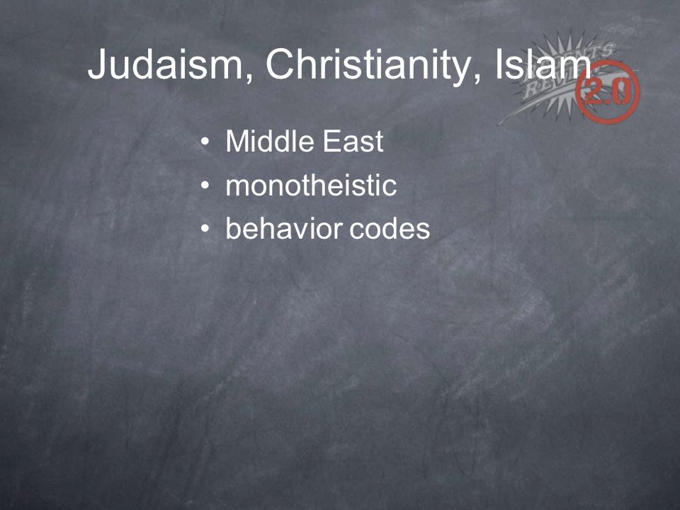 Judaism, Christianity, Islam Middle East monotheistic behavior codes