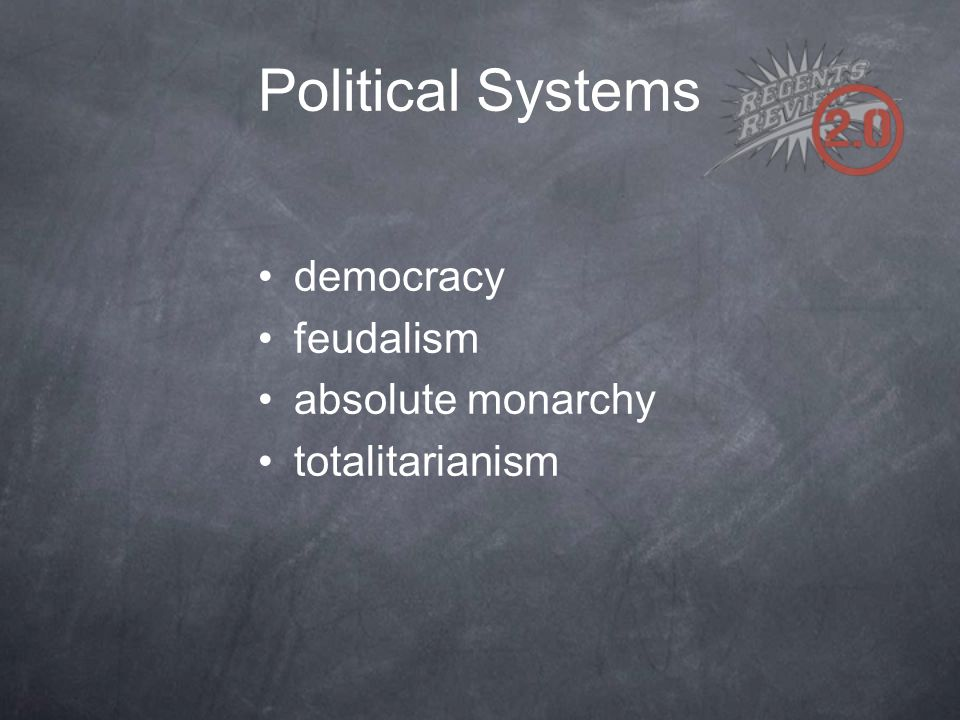 Political Systems democracy feudalism absolute monarchy totalitarianism