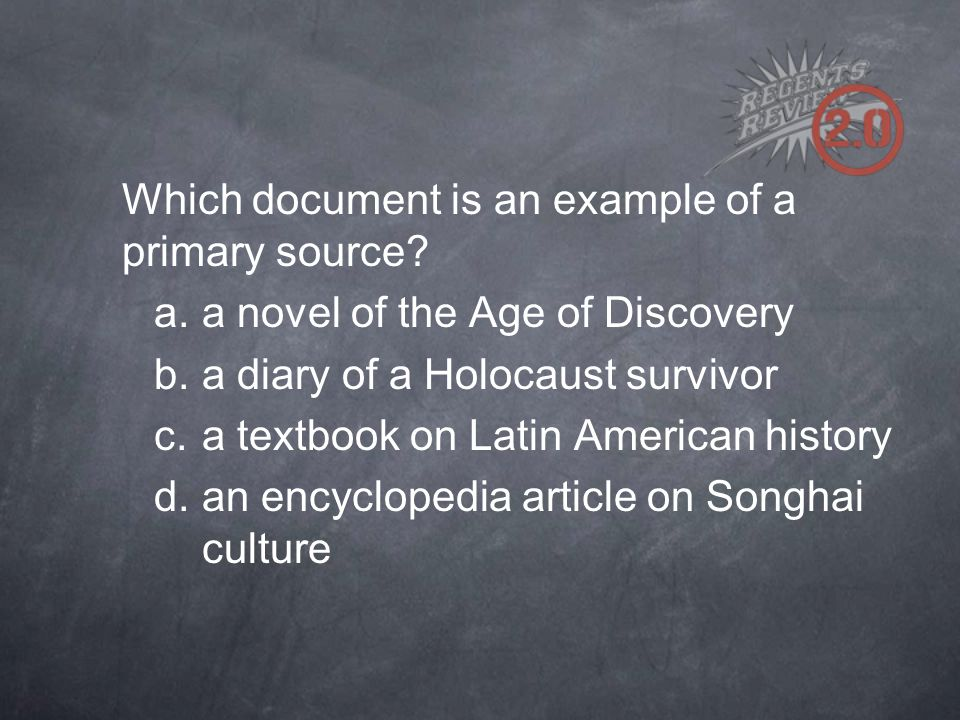 Which document is an example of a primary source.