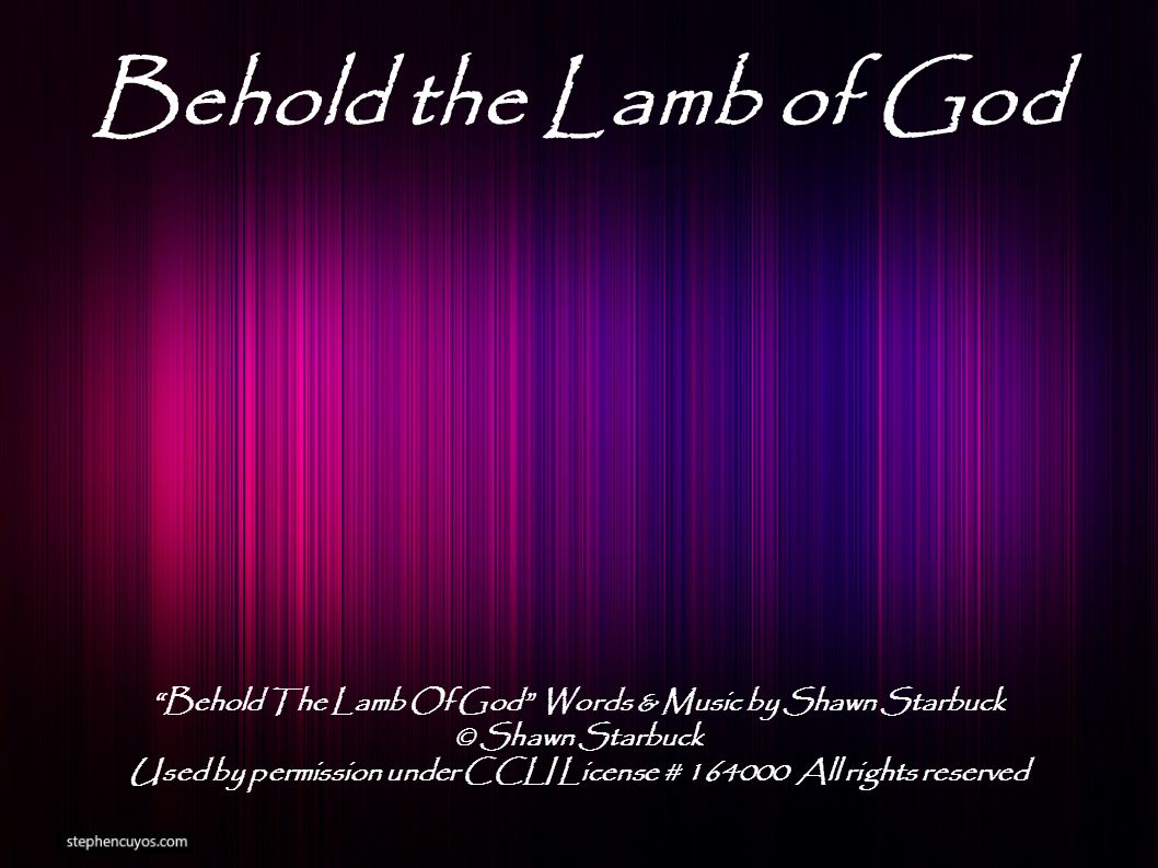 Behold the Lamb of God Behold The Lamb Of God Words & Music by Shawn Starbuck © Shawn Starbuck Used by permission under CCLI License # 164000 All rights reserved