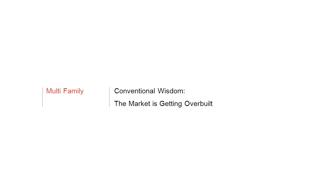 Multi FamilyConventional Wisdom: The Market is Getting Overbuilt