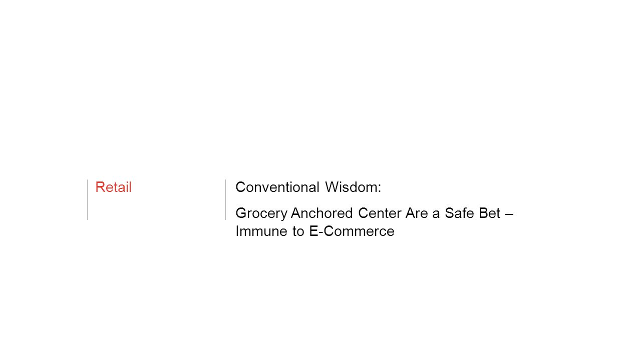 RetailConventional Wisdom: Grocery Anchored Center Are a Safe Bet – Immune to E-Commerce