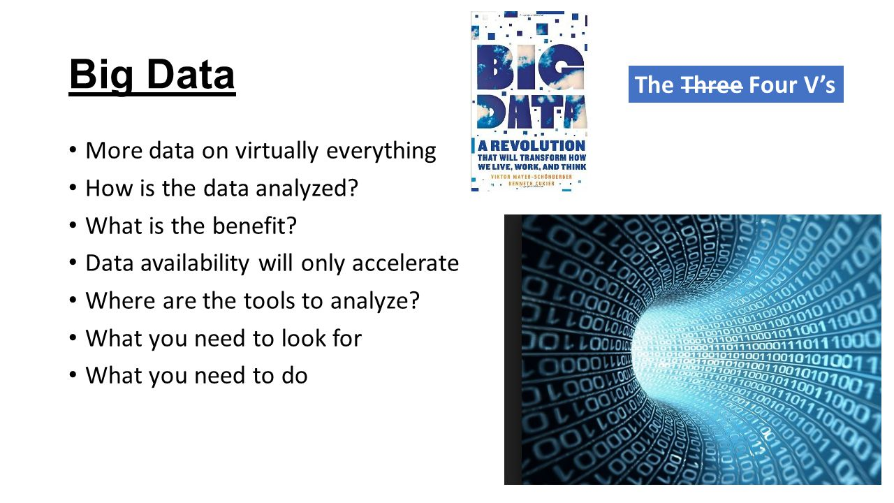 Big Data More data on virtually everything How is the data analyzed.