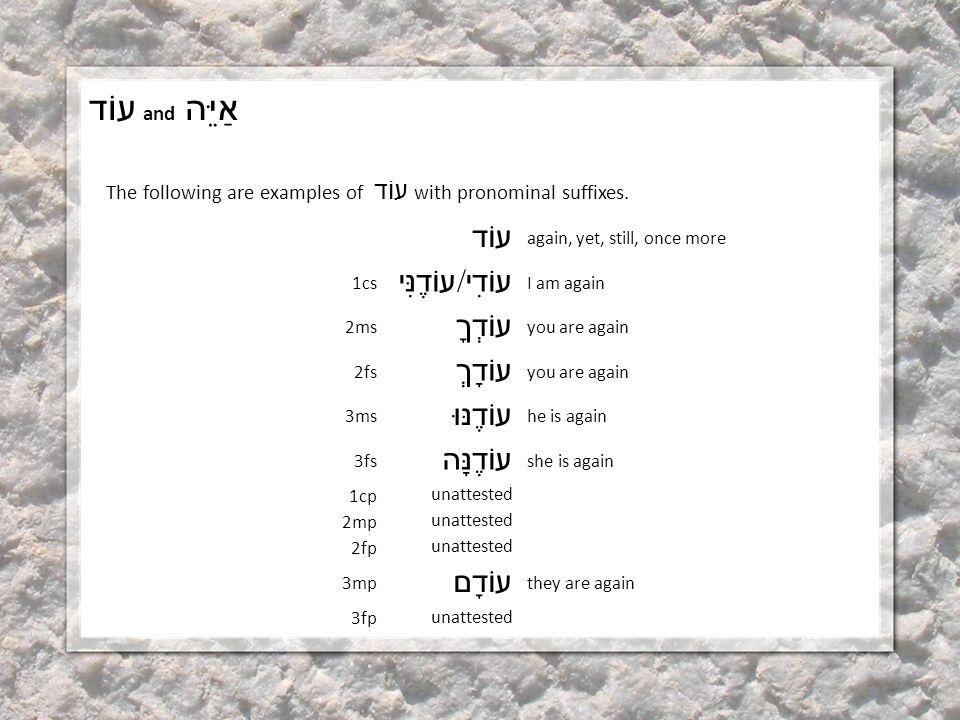 עוֹד and אַיֵּה The following are examples of עוֹד with pronominal suffixes.