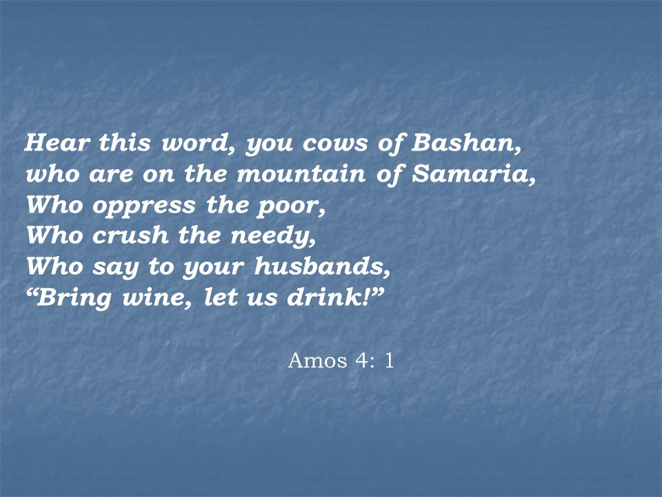 Hear this word, you cows of Bashan, who are on the mountain of Samaria, Who oppress the poor, Who crush the needy, Who say to your husbands, Bring wine, let us drink! Amos 4: 1