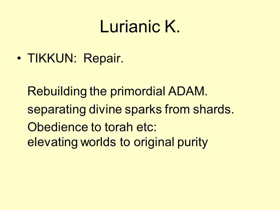 Lurianic K. TIKKUN: Repair. Rebuilding the primordial ADAM.