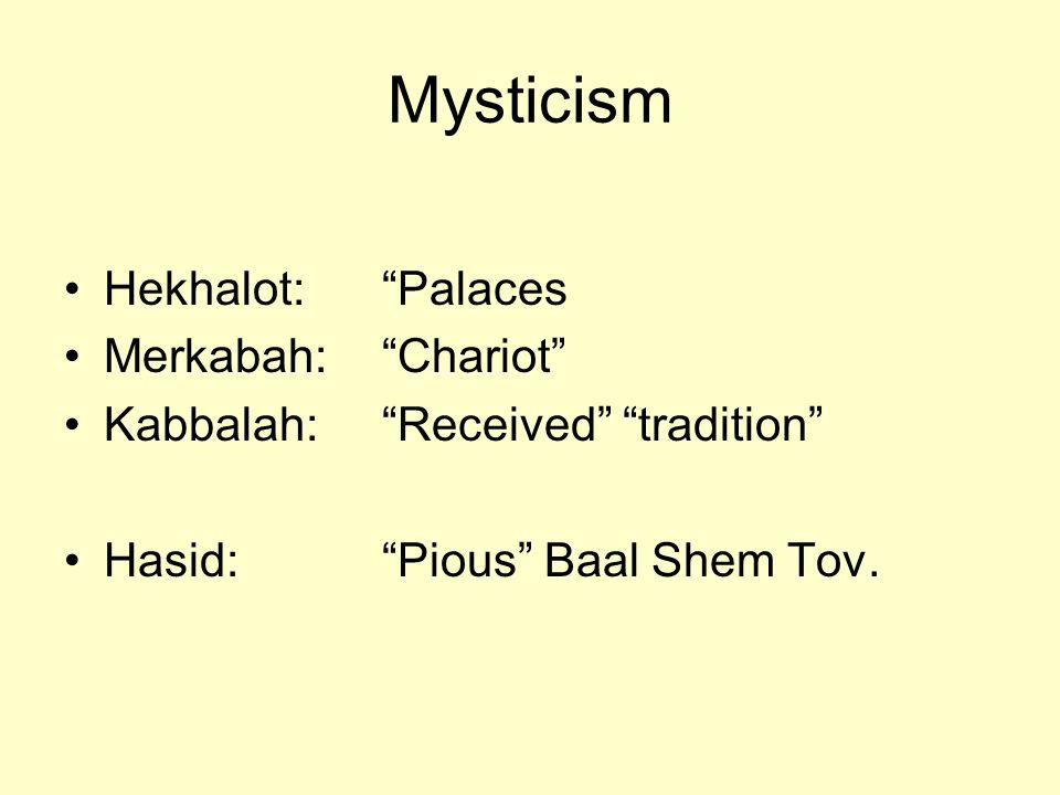 Mysticism Hekhalot: Palaces Merkabah: Chariot Kabbalah: Received tradition Hasid: Pious Baal Shem Tov.