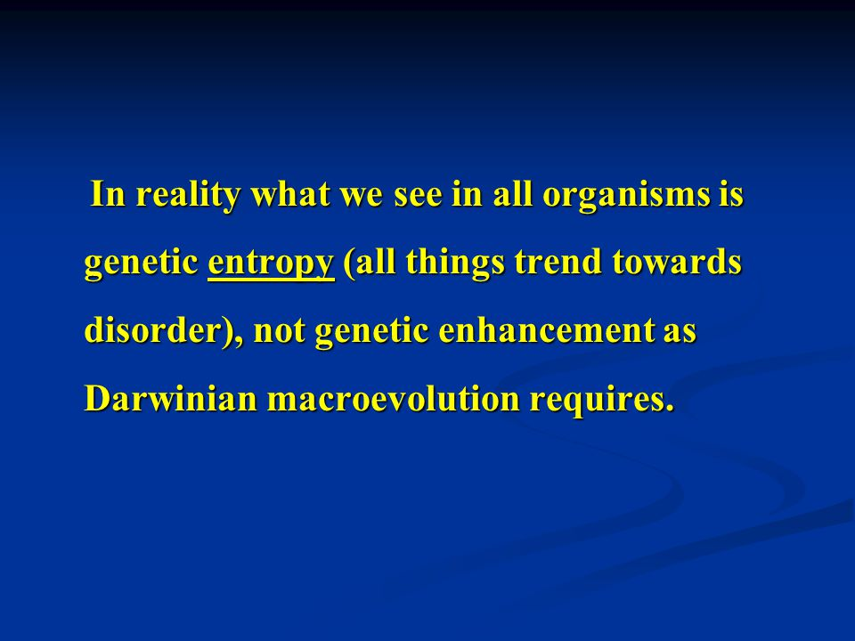 In reality what we see in all organisms is genetic entropy (all things trend towards disorder), not genetic enhancement as Darwinian macroevolution requires.