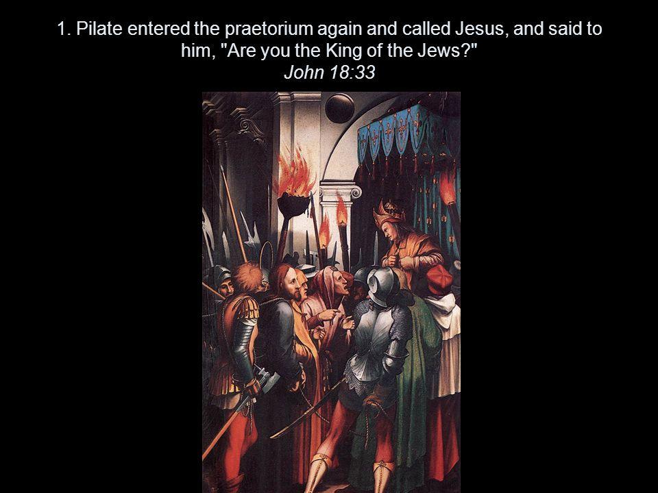 1. Pilate entered the praetorium again and called Jesus, and said to him,