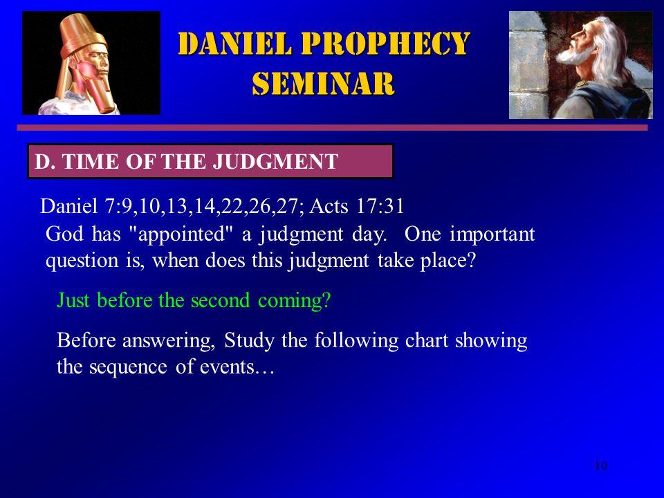 10 Daniel Prophecy Seminar Daniel 7:9,10,13,14,22,26,27; Acts 17:31 God has