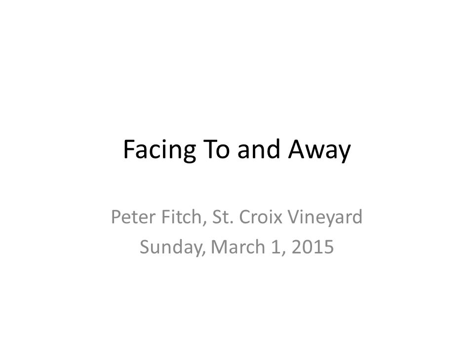 Facing To and Away Peter Fitch, St. Croix Vineyard Sunday, March 1, 2015