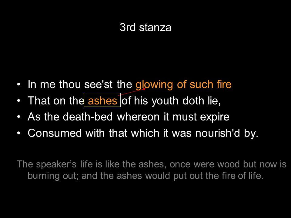 In me thou see'st the glowing of such fire That on the ashes of his youth doth lie, As the death-bed whereon it must expire Consumed with that which i