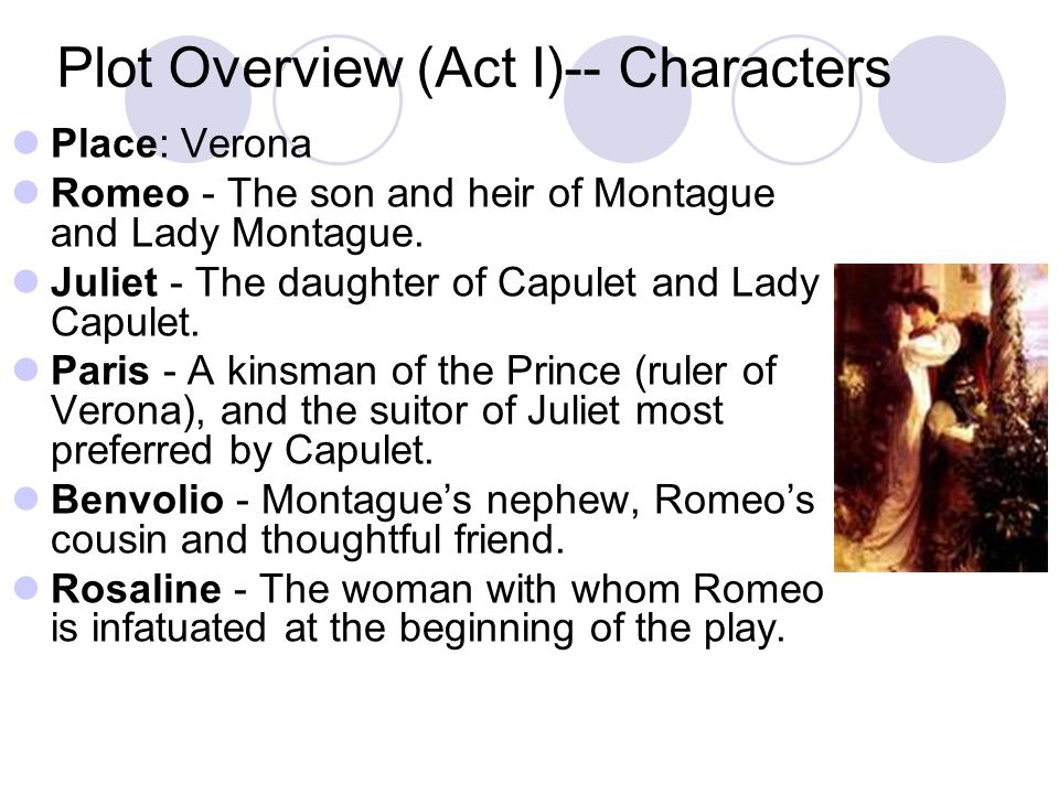 Plot Overview (Act I)-- Characters Place: Verona Romeo - The son and heir of Montague and Lady Montague.