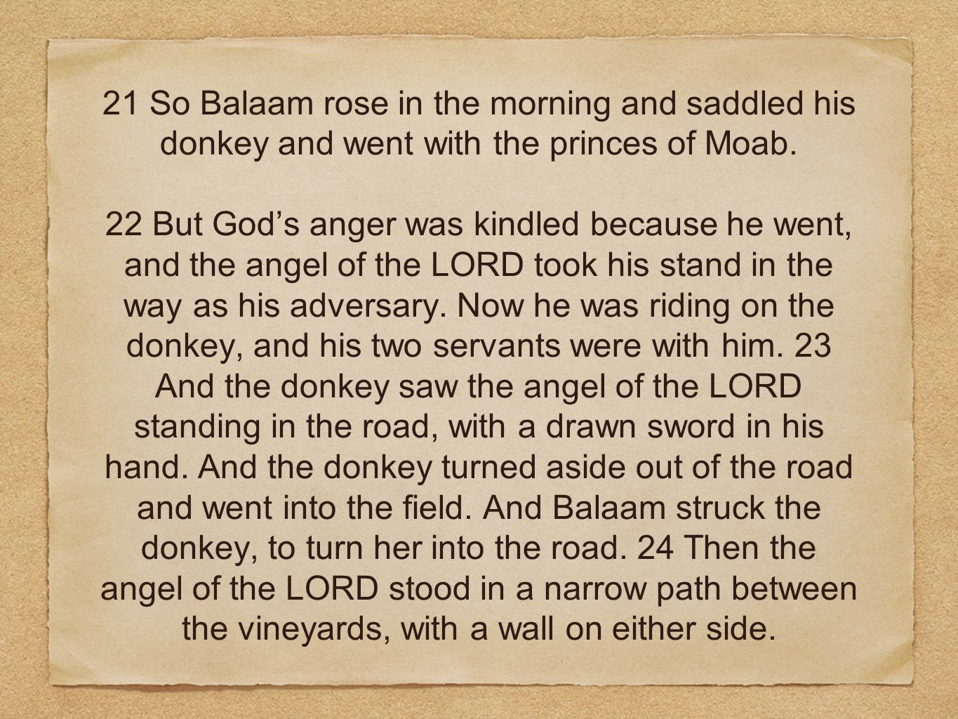 21 So Balaam rose in the morning and saddled his donkey and went with the princes of Moab.