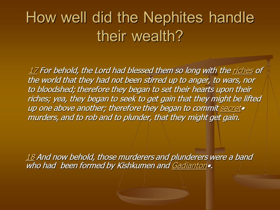 How well did the Nephites handle their wealth.