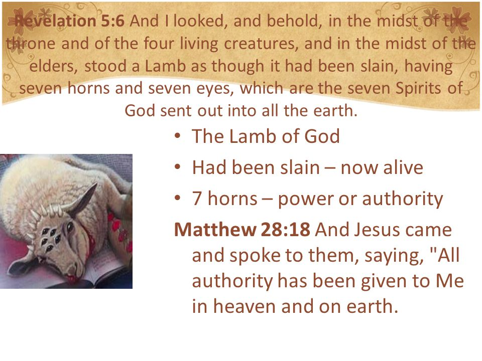 Revelation 5:6 And I looked, and behold, in the midst of the throne and of the four living creatures, and in the midst of the elders, stood a Lamb as