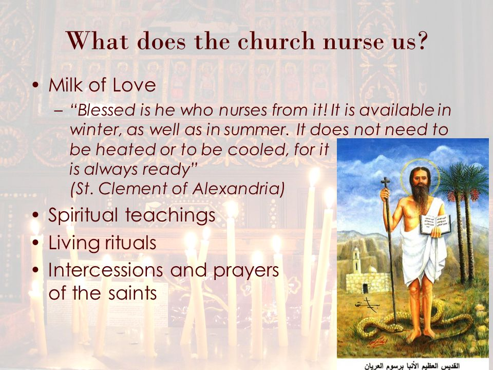 What does the church nurse us. Milk of Love – Blessed is he who nurses from it.