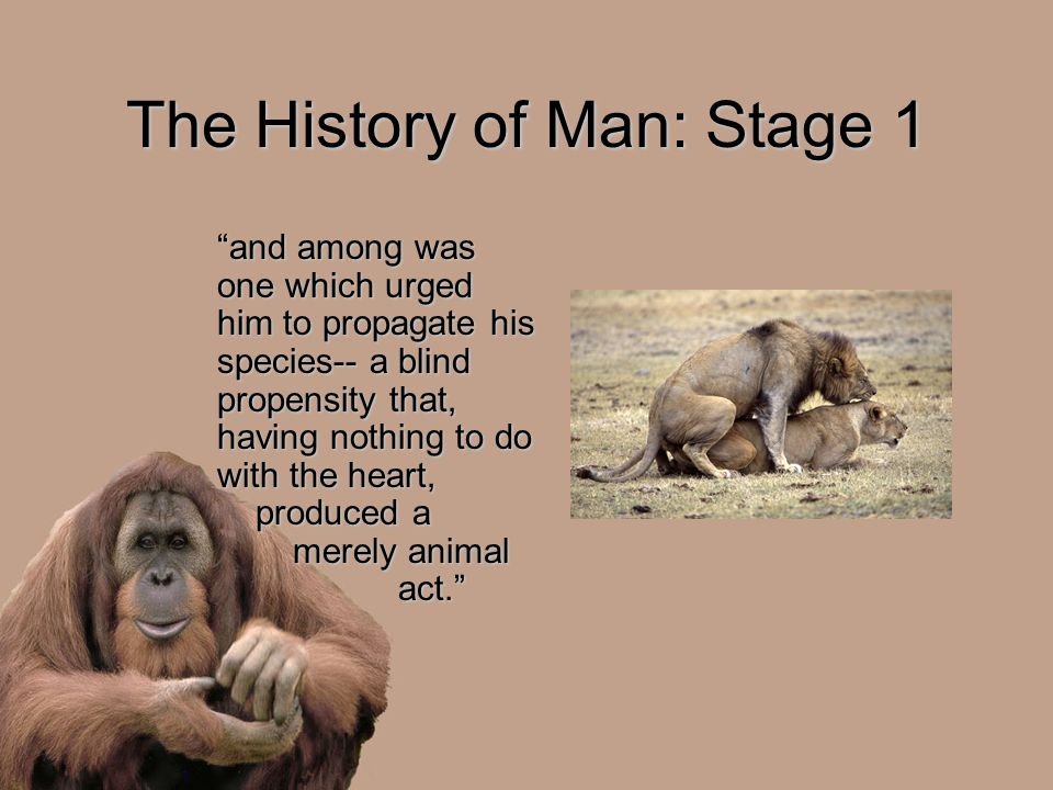 The History of Man: Stage 1 and among was one which urged him to propagate his species-- a blind propensity that, having nothing to do with the heart, produced a merely animal act.