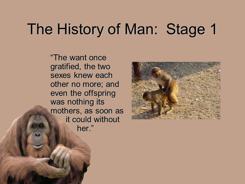 "The History of Man: Stage 1 ""The want once gratified, the two sexes knew each other no more; and even the offspring was nothing its mothers, as soon a"