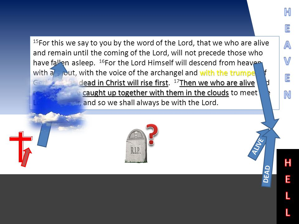 with the trumpet dead in Christ will rise firstThen we who are alive caught up together with them in the clouds 15 For this we say to you by the word of the Lord, that we who are alive and remain until the coming of the Lord, will not precede those who have fallen asleep.