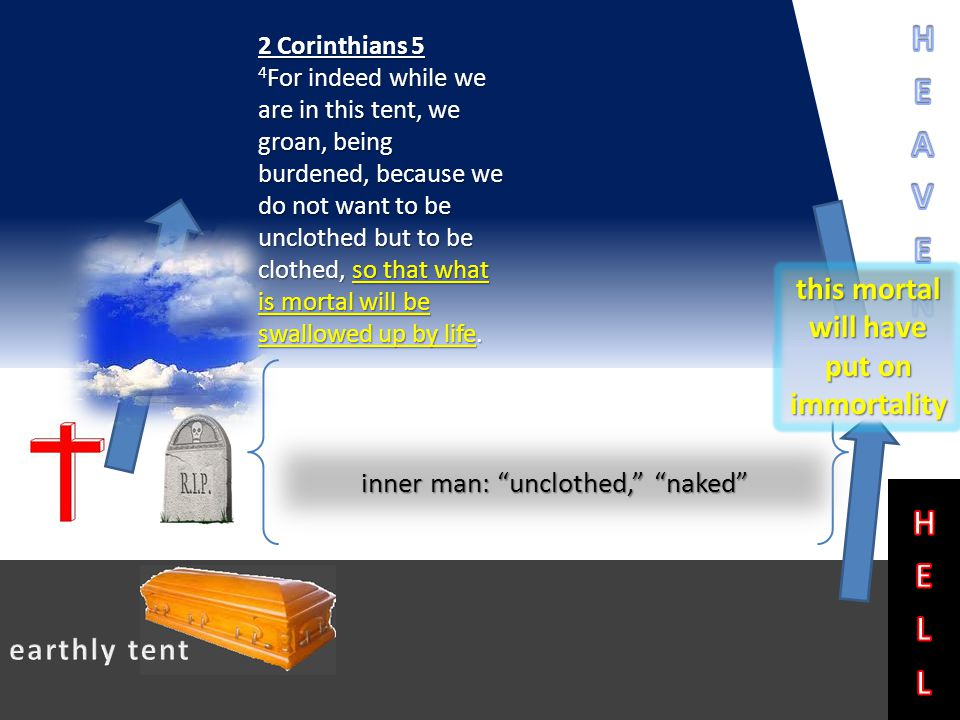 2 Corinthians 5 4 For indeed while we are in this tent, we groan, being burdened, because we do not want to be unclothed but to be clothed, so that what is mortal will be swallowed up by life.