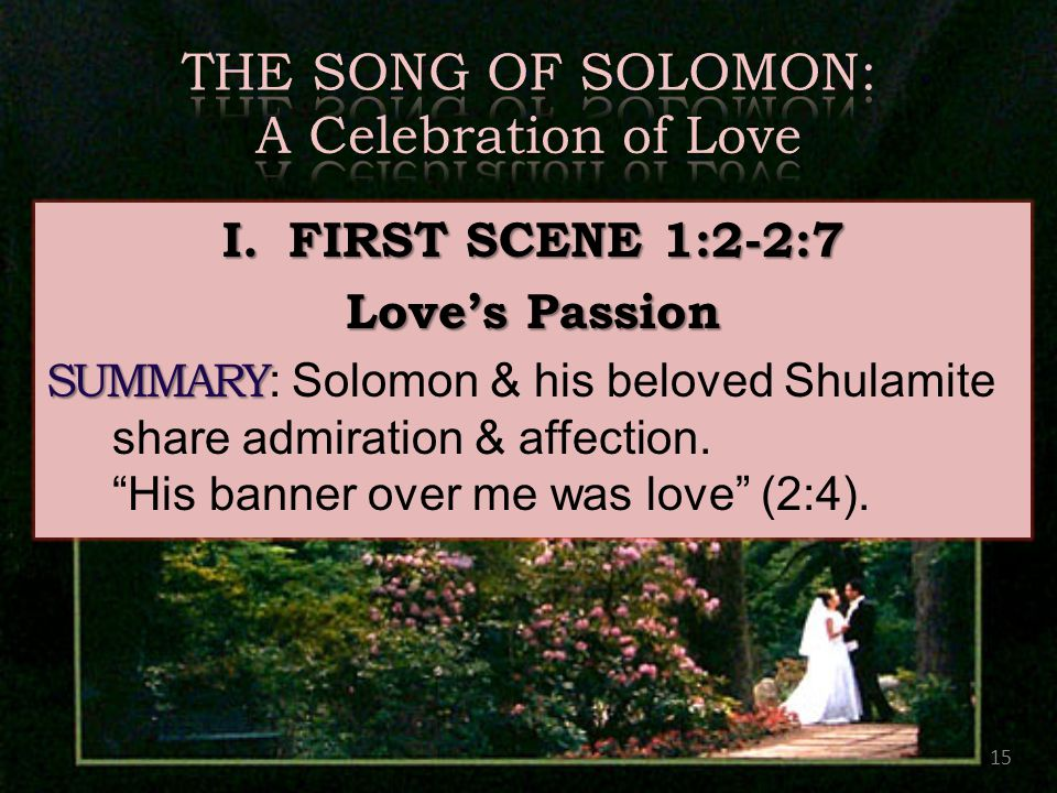 15 I.FIRST SCENE 1:2-2:7 Love's Passion SUMMARY SUMMARY : Solomon & his beloved Shulamite share admiration & affection.