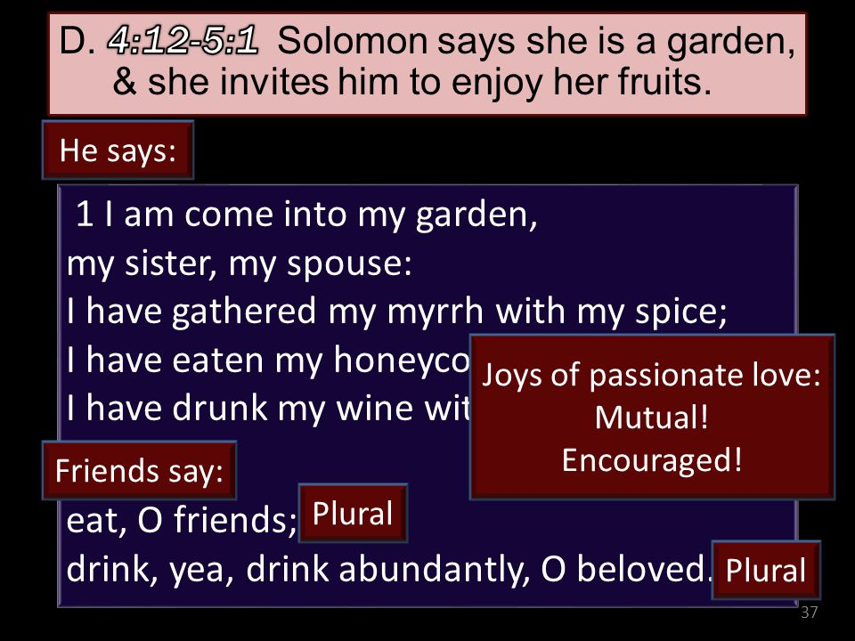 37 1 I am come into my garden, my sister, my spouse: I have gathered my myrrh with my spice; I have eaten my honeycomb with my honey; I have drunk my wine with my milk: eat, O friends; drink, yea, drink abundantly, O beloved.
