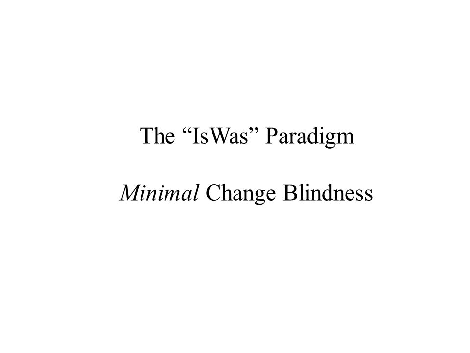 The IsWas Paradigm Minimal Change Blindness