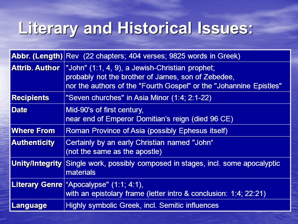 Literary and Historical Issues: Abbr. (Length) Rev (22 chapters; 404 verses; 9825 words in Greek) Attrib. Author