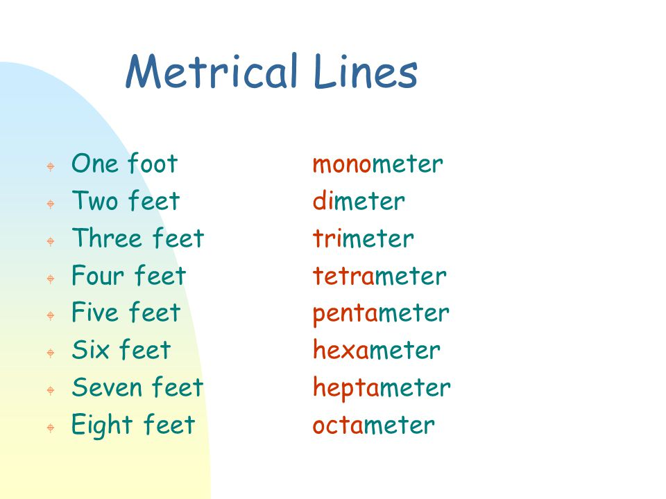 Metrical Lines W One footmonometer W Two feetdimeter W Three feettrimeter W Four feettetrameter W Five feetpentameter W Six feethexameter W Seven feet