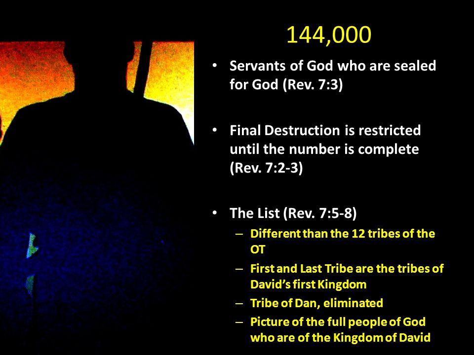 144,000 Servants of God who are sealed for God (Rev.