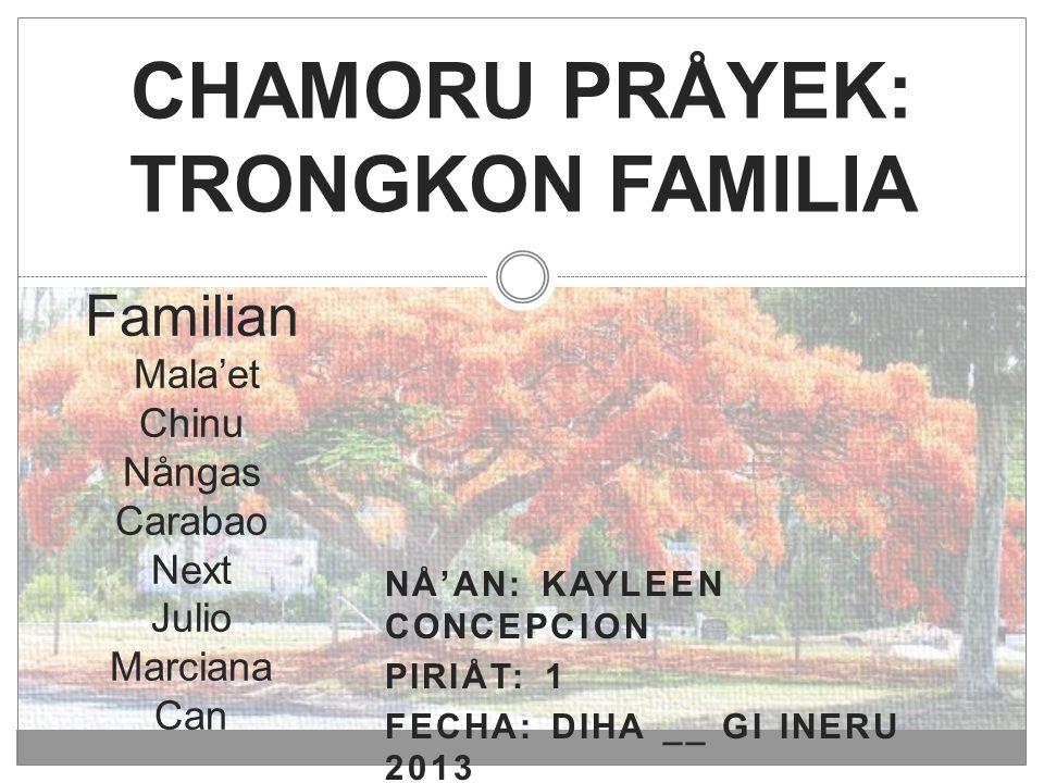 NÅ'AN: KAYLEEN CONCEPCION PIRIÅT: 1 FECHA: DIHA __ GI INERU 2013 CHAMORU PRÅYEK: TRONGKON FAMILIA Familian Mala'et Chinu Nångas Carabao Next Julio Mar