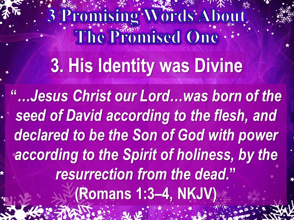 """3. His Identity was Divine """" …Jesus Christ our Lord…was born of the seed of David according to the flesh, and declared to be the Son of God with power"""