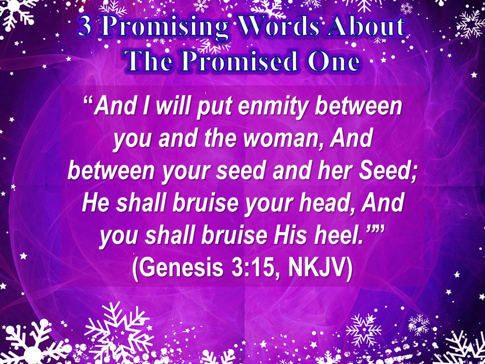 And I will put enmity between you and the woman, And between your seed and her Seed; He shall bruise your head, And you shall bruise His heel. (Genesis 3:15, NKJV)