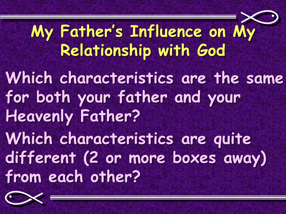 My Father's Influence on My Relationship with God Which characteristics are the same for both your father and your Heavenly Father.
