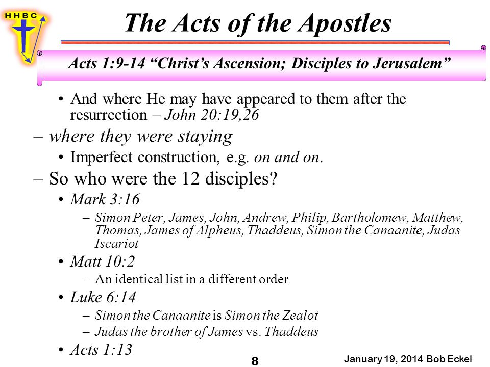 The Acts of the Apostles January 19, 2014 Bob Eckel 9 Acts 1:9-14 Christ's Ascension; Disciples to Jerusalem –Judas Iscariot omitted; Simon the Canaanite is Simon the Zealot; Judas the brother of James vs.