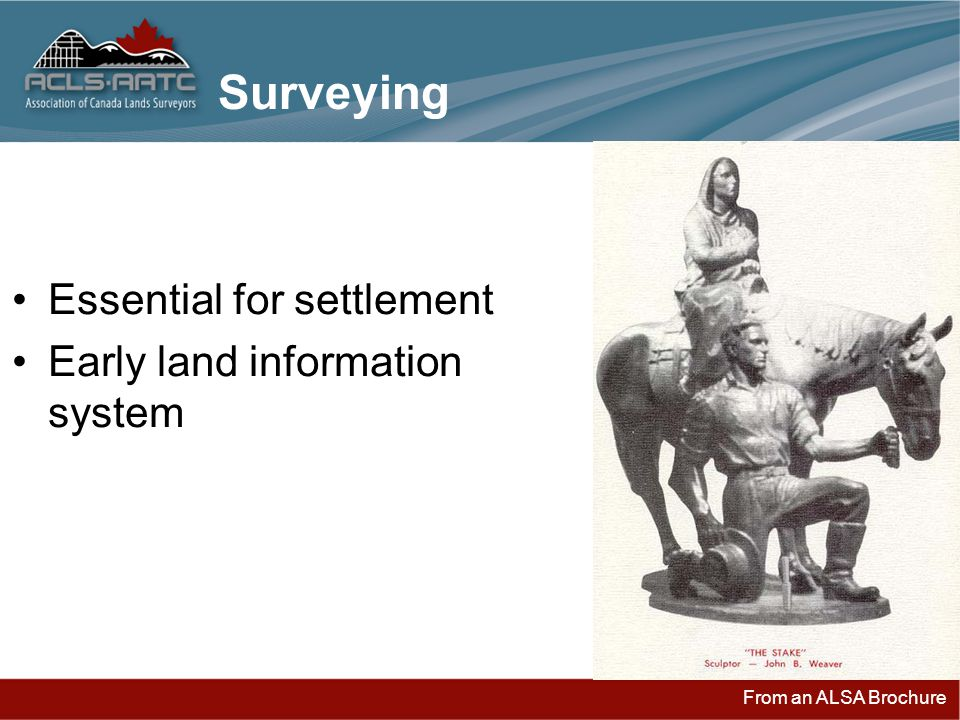 From an ALSA Brochure Surveying Essential for settlement Early land information system