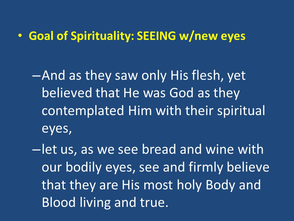 Goal of Spirituality: SEEING w/new eyes – And as they saw only His flesh, yet believed that He was God as they contemplated Him with their spiritual e
