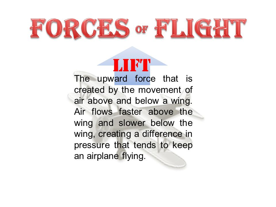 LIFT The upward force that is created by the movement of air above and below a wing.