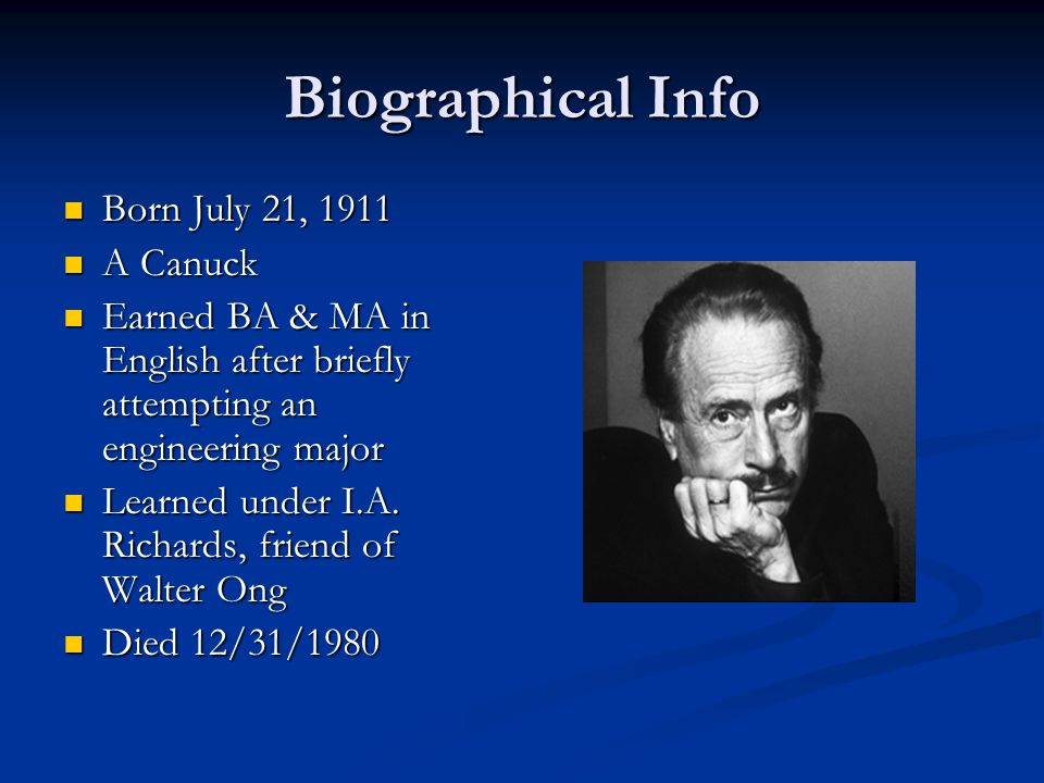 The McLuhan Legacy The medium is the message The medium is the message Surfing the web Surfing the web Global village Global village One of the first intellectual celebrities One of the first intellectual celebrities THE figure in communications ecology THE figure in communications ecology Patron saint of Wired Patron saint of Wired
