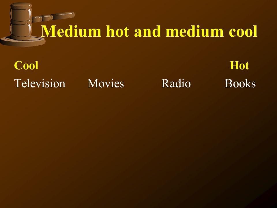 Medium hot and medium cool Cool Hot Television Movies Radio Books