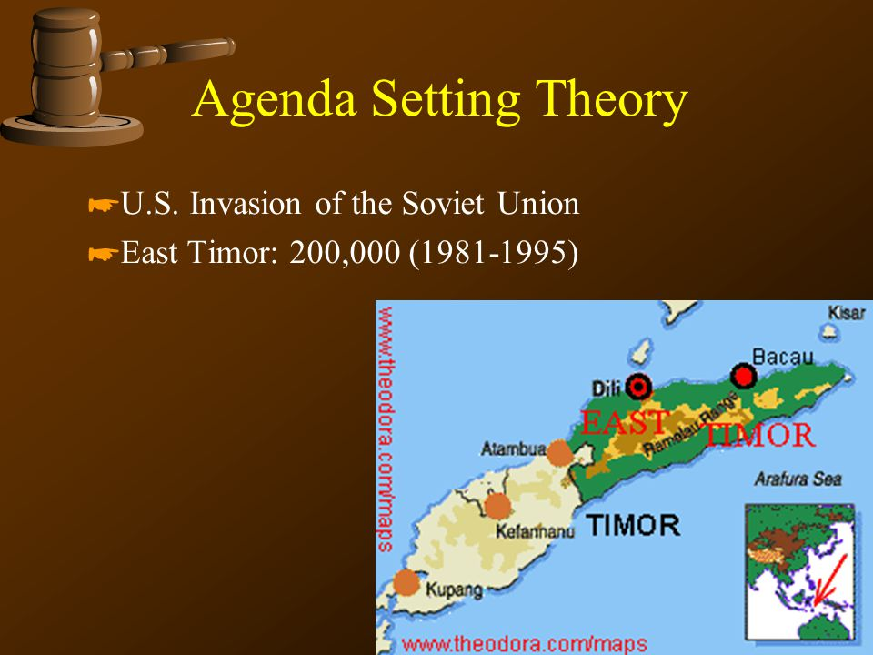 Agenda Setting Theory *U.S. Invasion of the Soviet Union *East Timor: 200,000 (1981-1995)