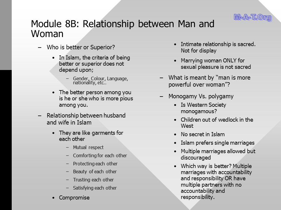 Module 8B: Relationship between Man and Woman – –Who is better or Superior? In Islam, the criteria of being better or superior does not depend upon; –