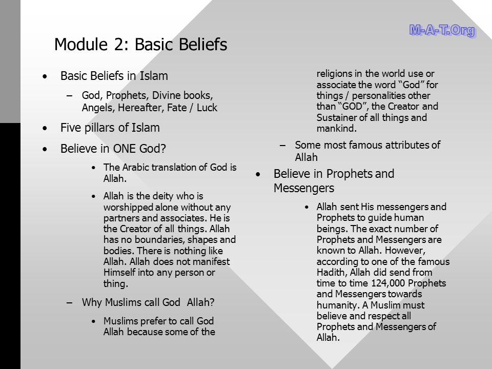 Module 2: Basic Beliefs Basic Beliefs in Islam – –God, Prophets, Divine books, Angels, Hereafter, Fate / Luck Five pillars of Islam Believe in ONE God