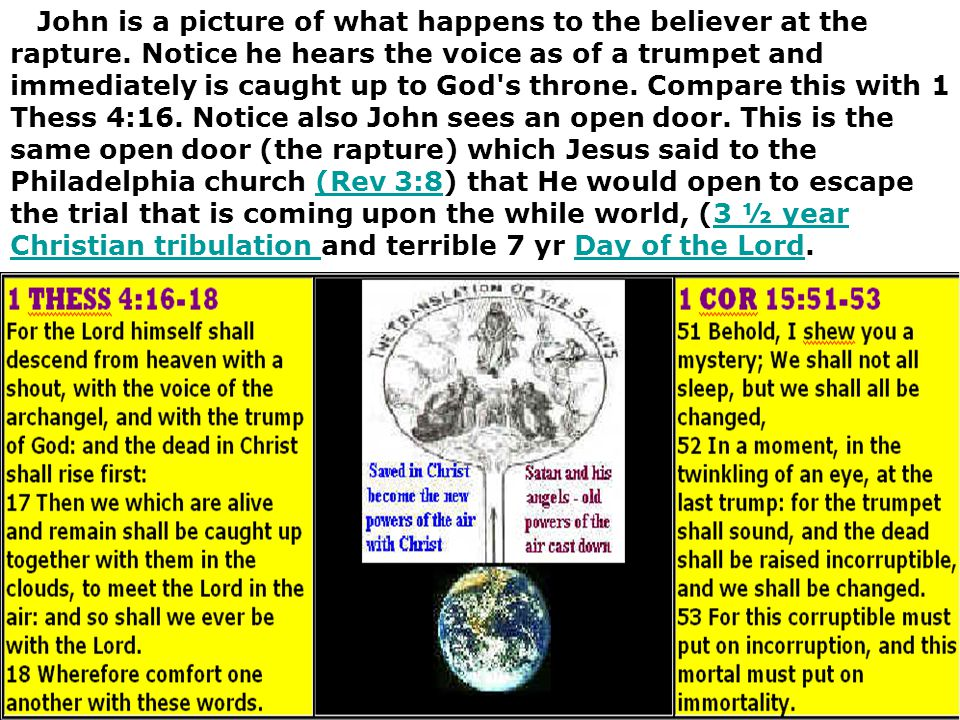John is a picture of what happens to the believer at the rapture. Notice he hears the voice as of a trumpet and immediately is caught up to God's thro