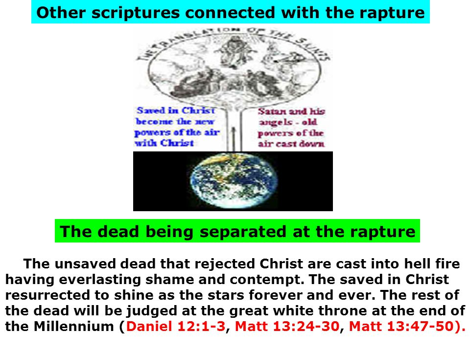 The dead being separated at the rapture Other scriptures connected with the rapture The unsaved dead that rejected Christ are cast into hell fire havi