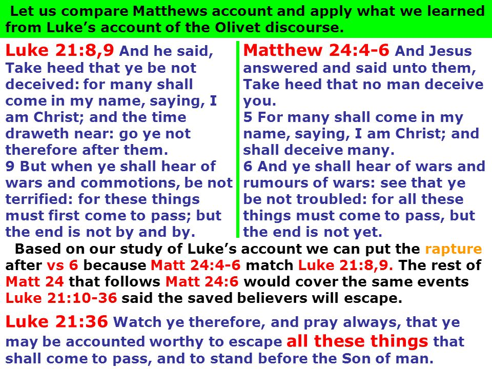 Matthew 24:4-6 And Jesus answered and said unto them, Take heed that no man deceive you. 5 For many shall come in my name, saying, I am Christ; and sh