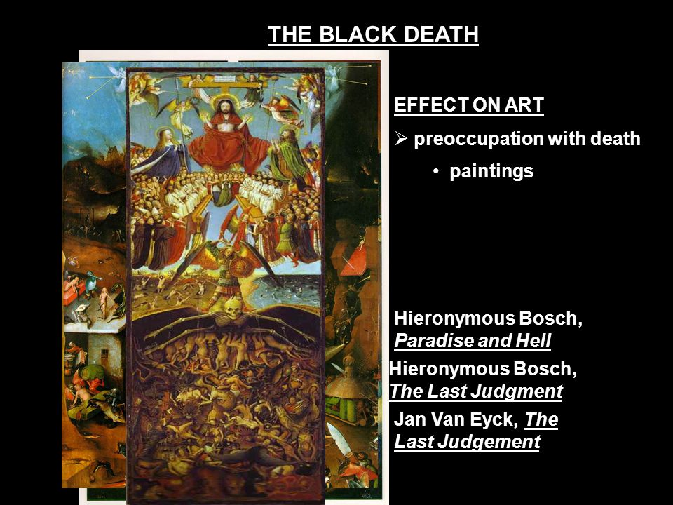 EFFECT ON ART  preoccupation with death paintings Hieronymous Bosch, Paradise and Hell Hieronymous Bosch, The Last Judgment Jan Van Eyck, The Last Ju